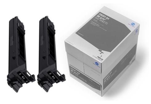 2x toner černýpro bizhub C20/C20P + karton papíru KM Profi zdarma