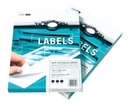 Papírové etikety bílé formát A4; perforace 24 etiket 70 x 36