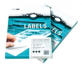 Papírové etikety bílé formát A4; perforace 21 etiket 70 x 42,3
